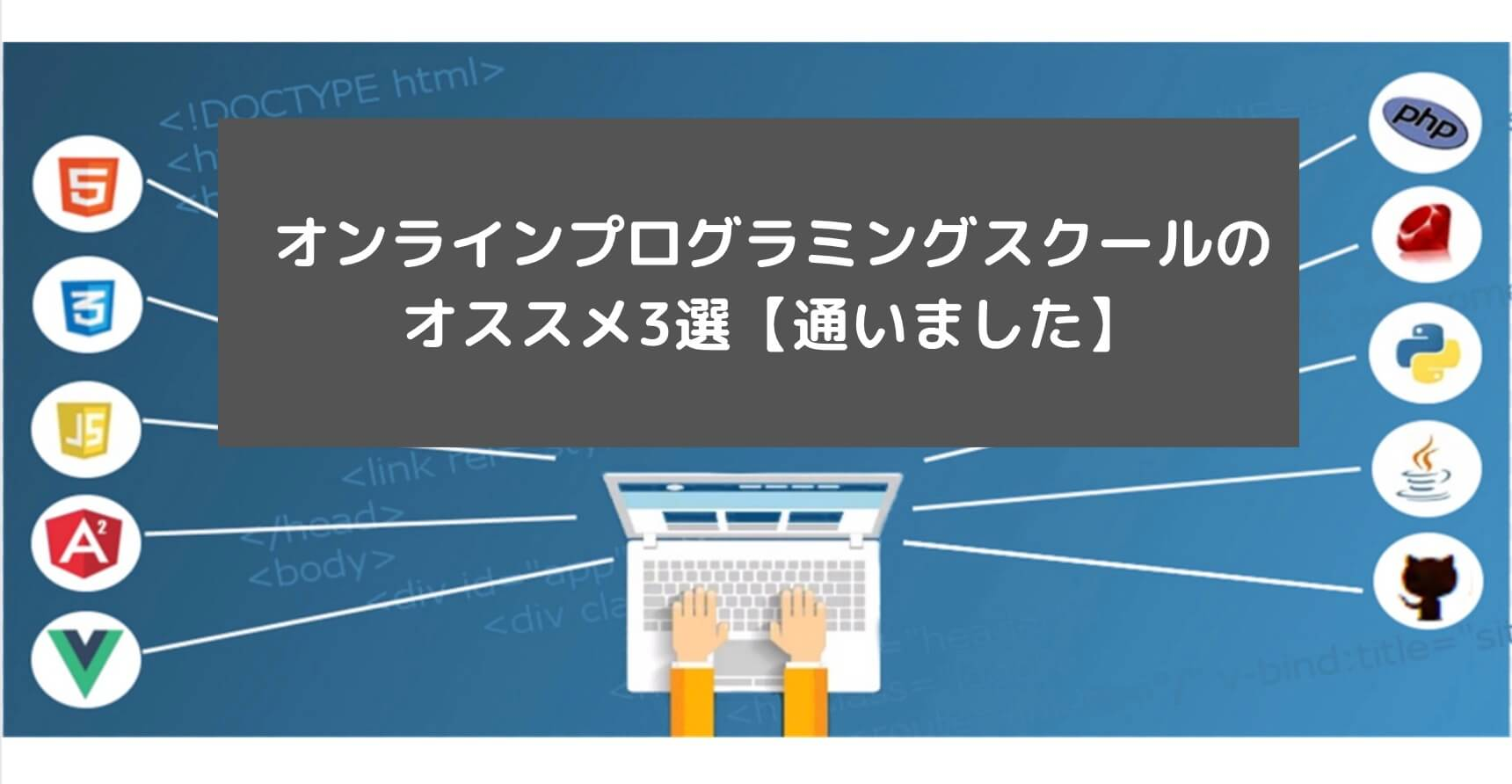 オンラインプログラミングスクールのオススメ3選【通いました】と書かれた画像