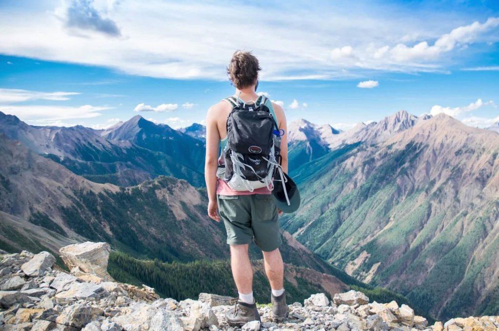 山を見る人