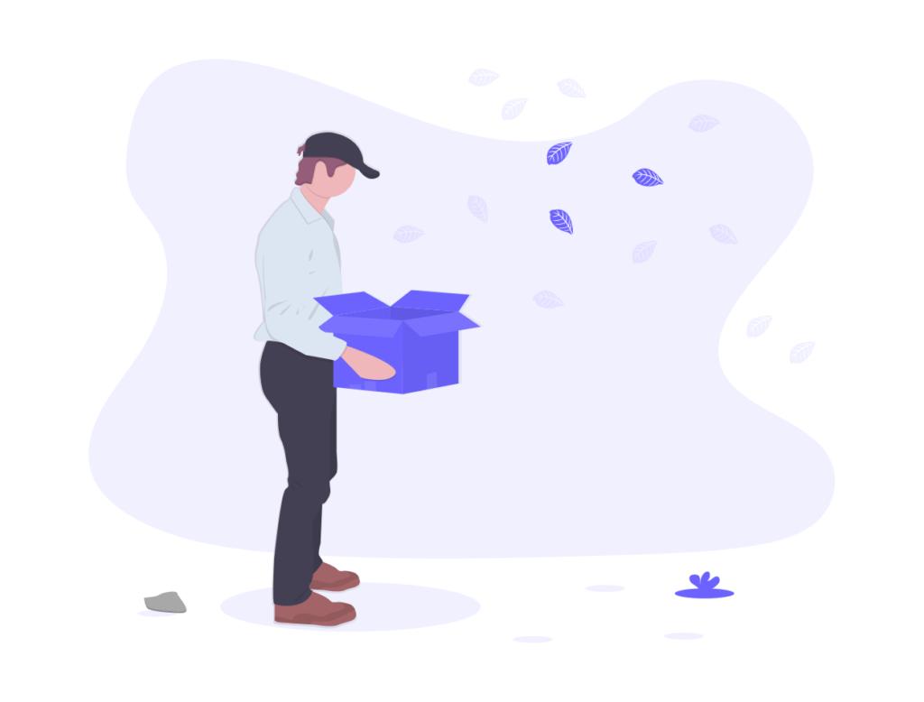 空の箱を開ける人