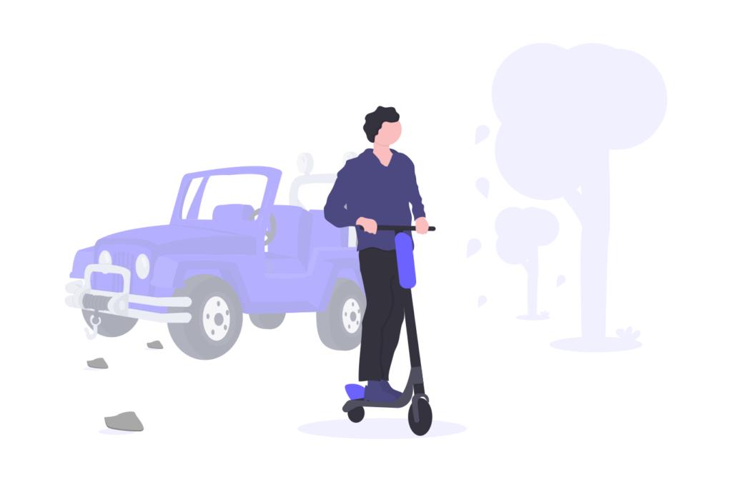スクーターに乗る人