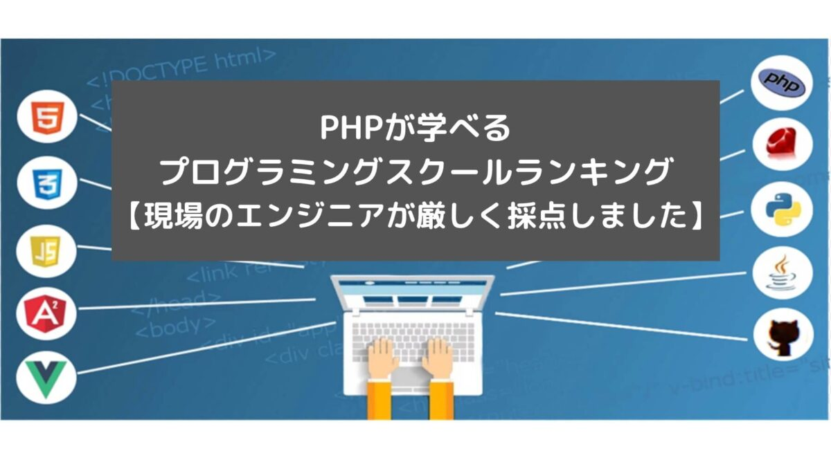 PHPが学べるプログラミングスクールランキング【現場のエンジニアが厳しく採点しました】と書かれた画像