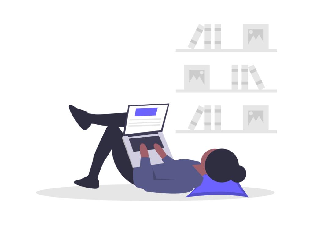 寝転びながらパソコン