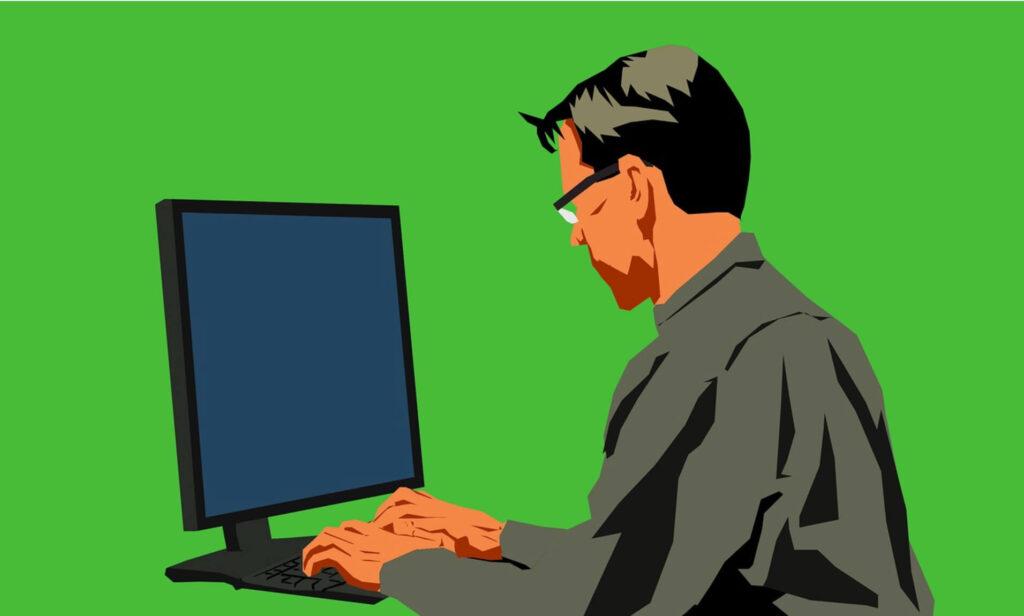 プログラミングをする男性