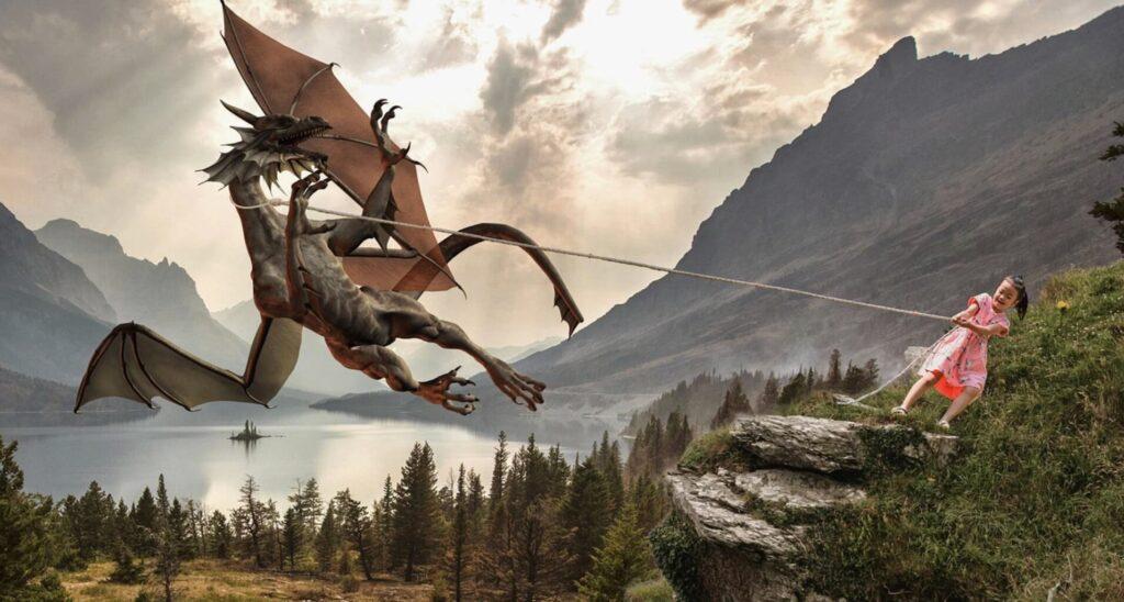 ドラゴンを捕まえる女の子