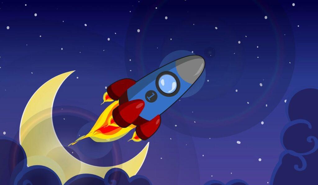 発射するロケット