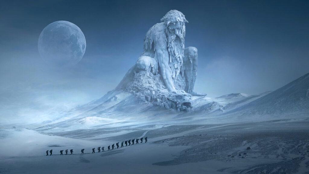 氷山を歩く人達