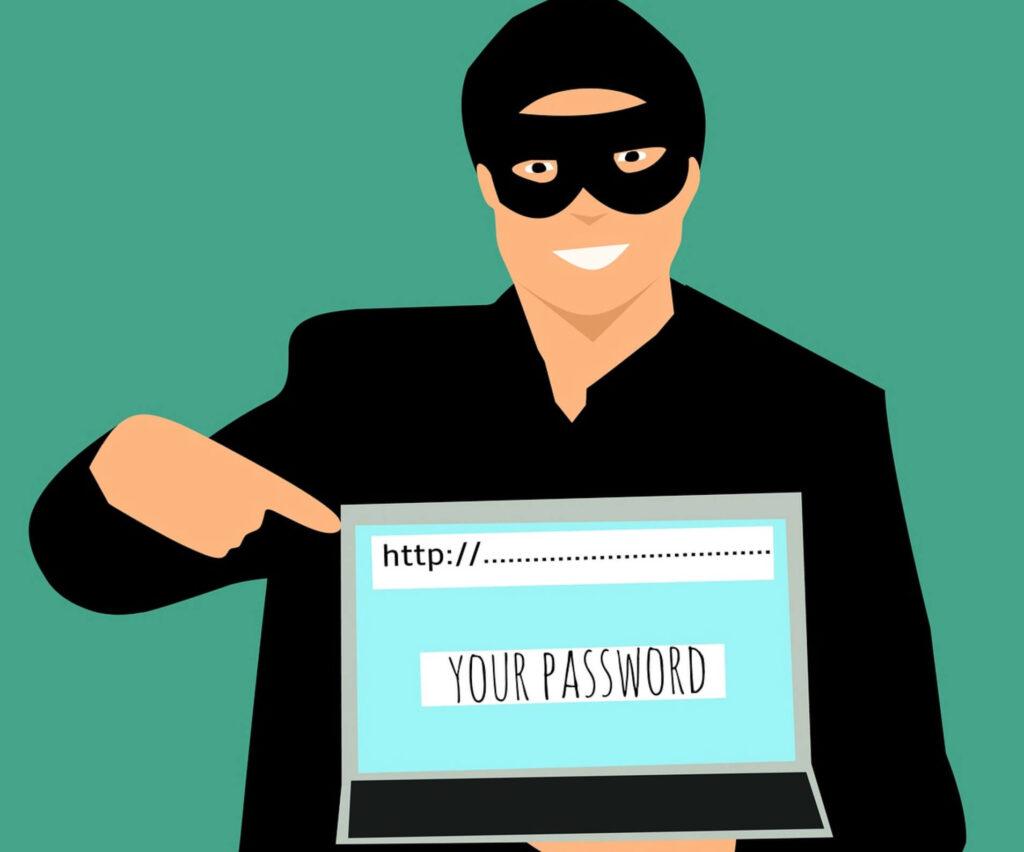 パスワードを盗み取る人