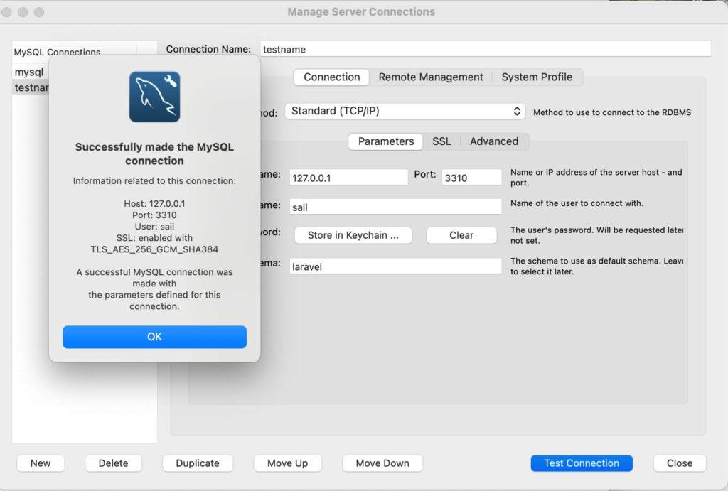 MySQLWorkBenchの接続成功画面