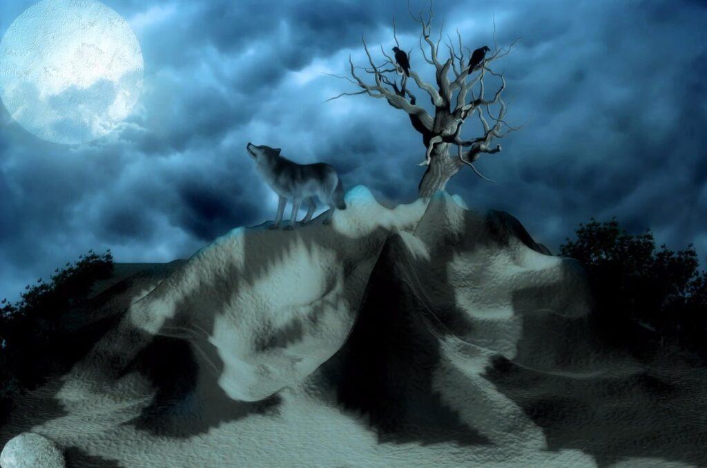 闇の中で吠えるオオカミ