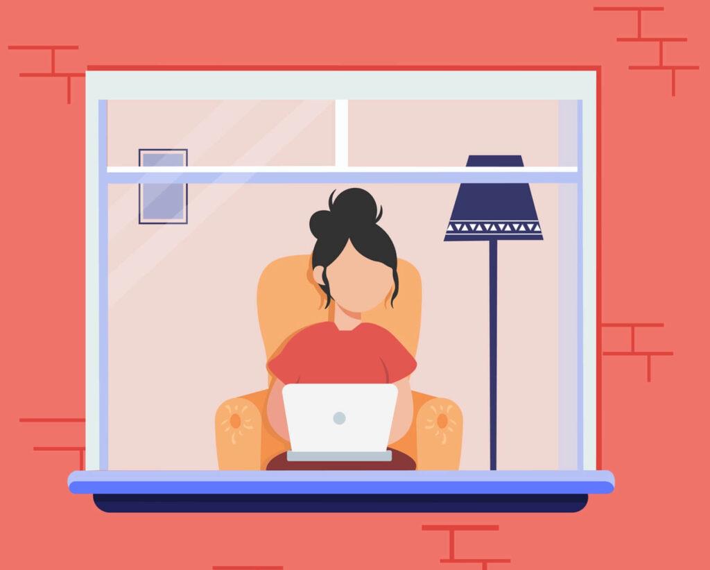 オンラインで学習する女性